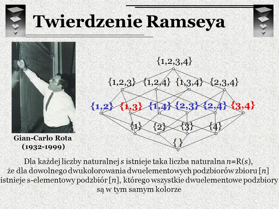 Twierdzenie Ramseya Gian-Carlo Rota (1932-1999) Dla każdej liczby naturalnej s istnieje taka liczba naturalna n=R(s), że dla dowolnego dwukolorowania