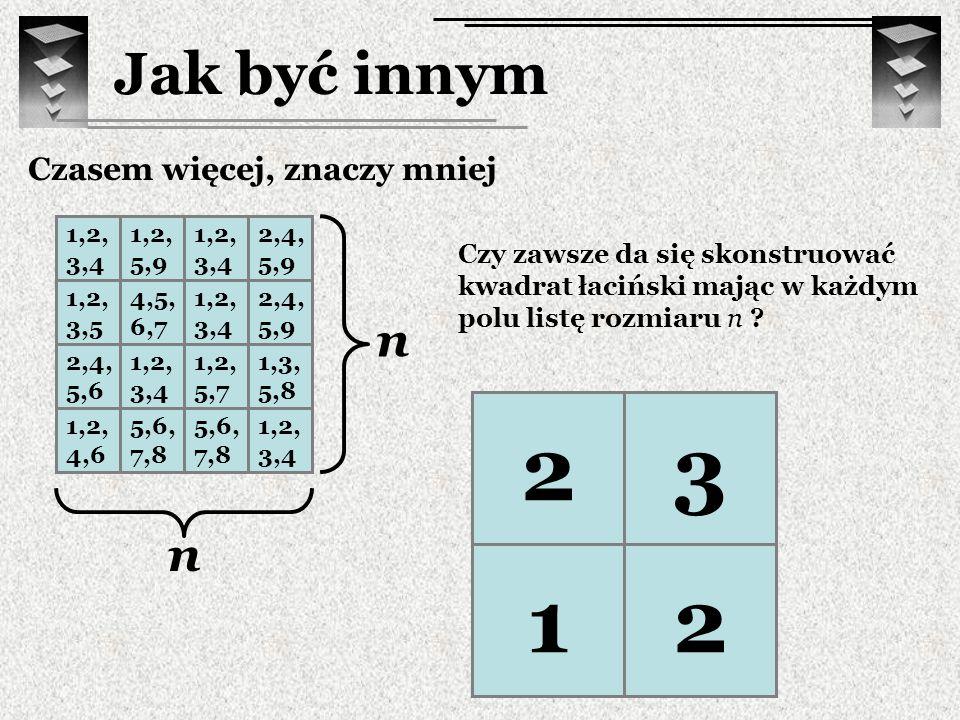 Jak być innym ? 1 2 3 2,3 2 ? 1,22,3 1,22,3 23 12 Czasem więcej, znaczy mniej 1,2, 3,4 1,2, 5,9 1,2, 3,4 2,4, 5,9 1,2, 3,5 4,5, 6,7 1,2, 3,4 2,4, 5,9