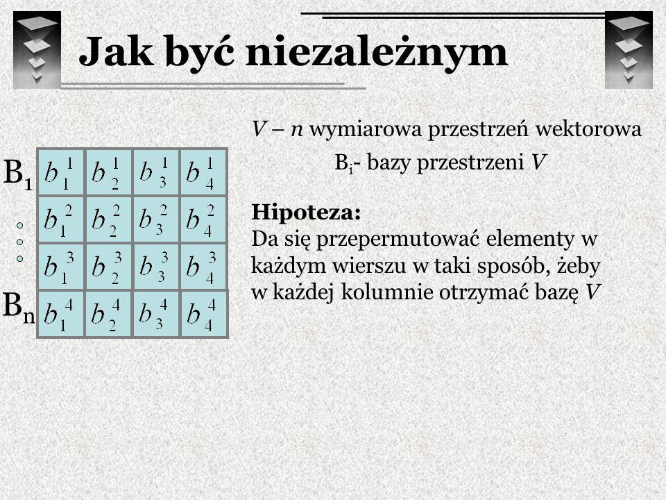 Hipoteza: Da się przepermutować elementy w każdym wierszu w taki sposób, żeby w każdej kolumnie otrzymać bazę V B i - bazy przestrzeni V V – n wymiaro