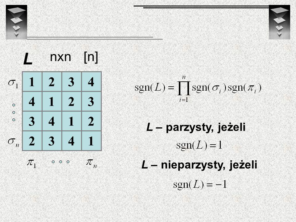 1234 4123 3412 2341 L L – parzysty, jeżeli L – nieparzysty, jeżeli nxn[n]