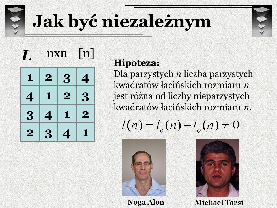 1234 4123 3412 2341 L Hipoteza: Dla parzystych n liczba parzystych kwadratów łacińskich rozmiaru n jest różna od liczby nieparzystych kwadratów łacińs