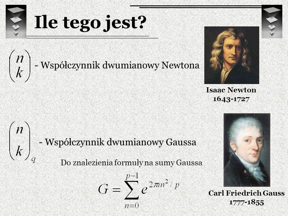 Ile tego jest? - Współczynnik dwumianowy Gaussa Carl Friedrich Gauss 1777-1855 Do znalezienia formuły na sumy Gaussa - Współczynnik dwumianowy Newtona