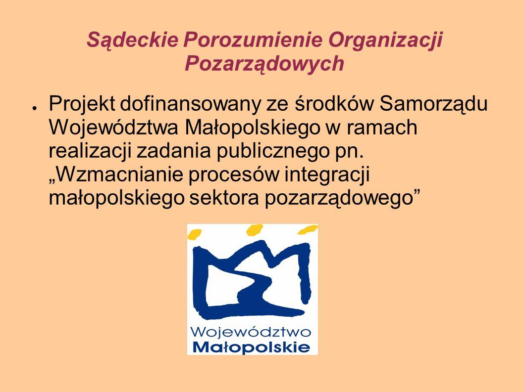 Sądeckie Porozumienie Organizacji Pozarządowych Projekt dofinansowany ze środków Samorządu Województwa Małopolskiego w ramach realizacji zadania publicznego pn.