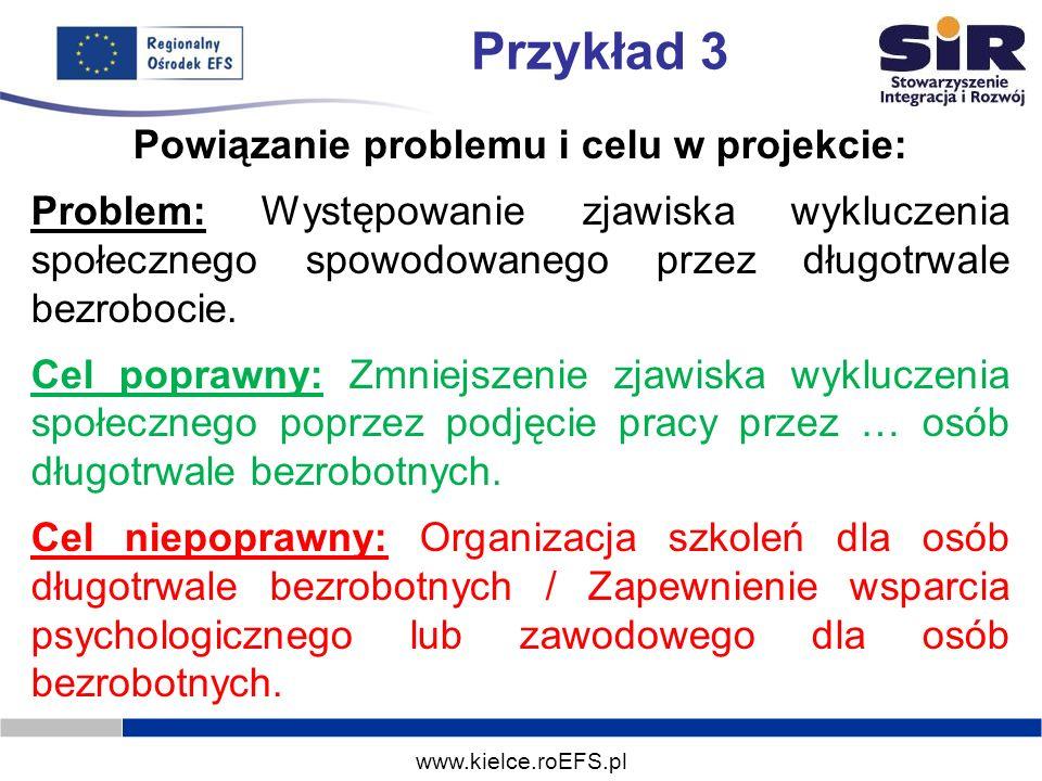 www.kielce.roEFS.pl Przykład 3 Powiązanie problemu i celu w projekcie: Problem: Występowanie zjawiska wykluczenia społecznego spowodowanego przez dług