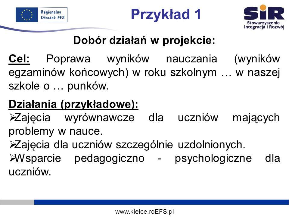 www.kielce.roEFS.pl Przykład 1 Dobór działań w projekcie: Cel: Poprawa wyników nauczania (wyników egzaminów końcowych) w roku szkolnym … w naszej szko