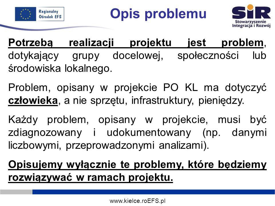 www.kielce.roEFS.pl Opis problemu Potrzebą realizacji projektu jest problem, dotykający grupy docelowej, społeczności lub środowiska lokalnego. Proble