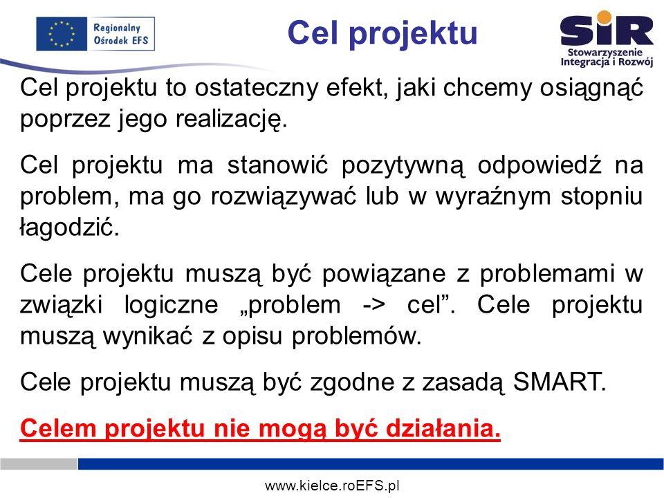 www.kielce.roEFS.pl Cel projektu Cel projektu to ostateczny efekt, jaki chcemy osiągnąć poprzez jego realizację. Cel projektu ma stanowić pozytywną od