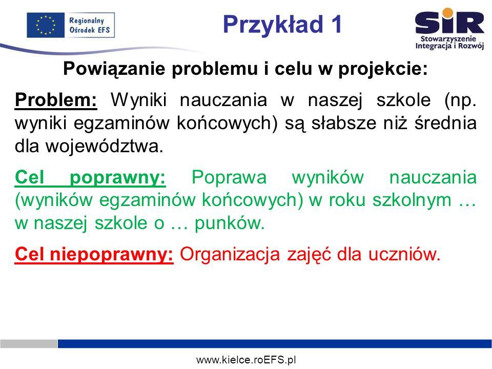 www.kielce.roEFS.pl Przykład 1 Powiązanie problemu i celu w projekcie: Problem: Wyniki nauczania w naszej szkole (np. wyniki egzaminów końcowych) są s
