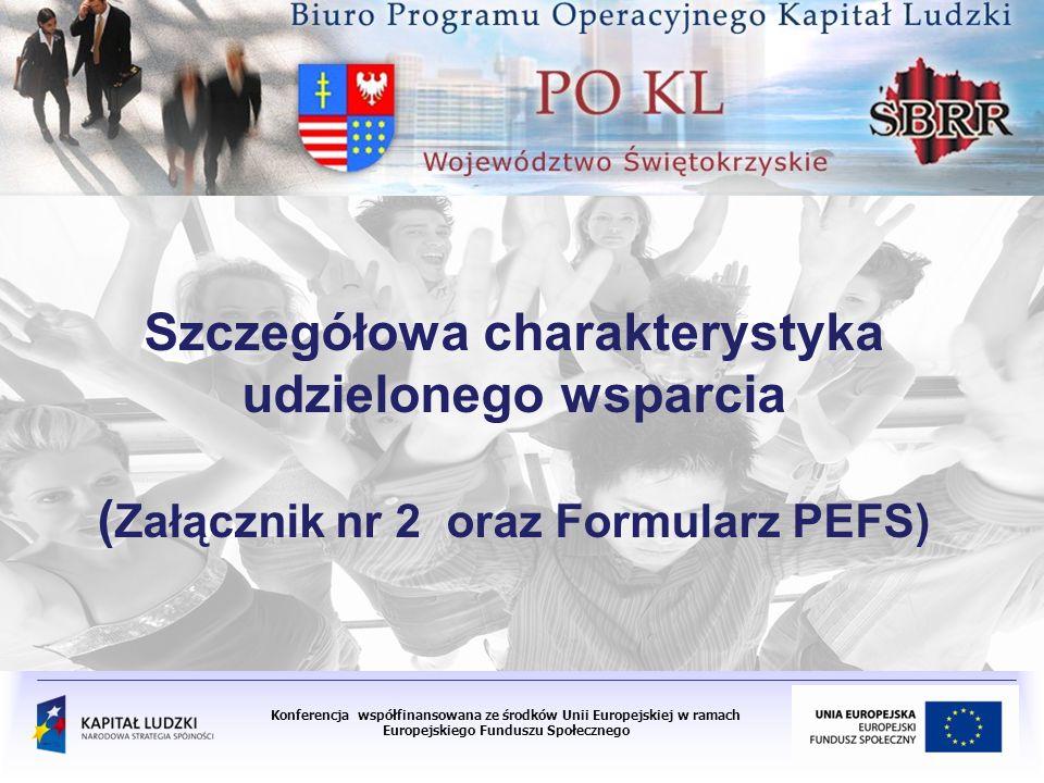 Konferencja współfinansowana ze środków Unii Europejskiej w ramach Europejskiego Funduszu Społecznego Szczegółowa charakterystyka udzielonego wsparcia ( Załącznik nr 2 oraz Formularz PEFS)