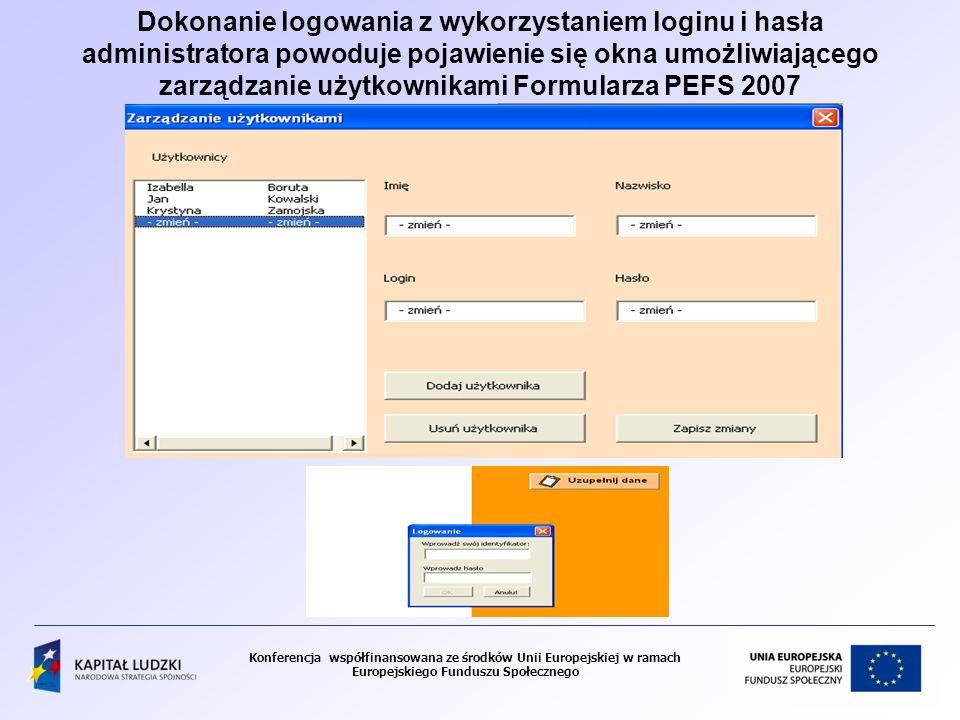 Konferencja współfinansowana ze środków Unii Europejskiej w ramach Europejskiego Funduszu Społecznego Dokonanie logowania z wykorzystaniem loginu i hasła administratora powoduje pojawienie się okna umożliwiającego zarządzanie użytkownikami Formularza PEFS 2007