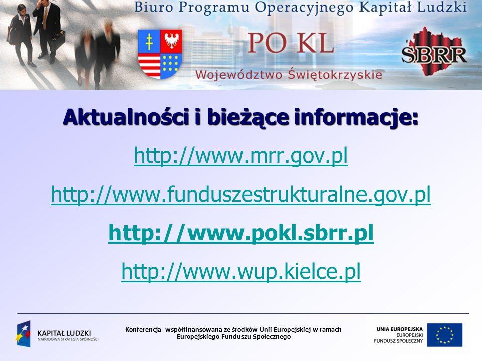 Aktualności i bieżące informacje: http://www.mrr.gov.pl http://www.funduszestrukturalne.gov.pl http://www.pokl.sbrr.pl http://www.wup.kielce.pl