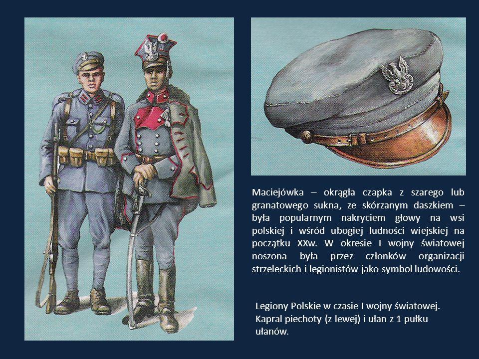 Maciejówka – okrągła czapka z szarego lub granatowego sukna, ze skórzanym daszkiem – była popularnym nakryciem głowy na wsi polskiej i wśród ubogiej l