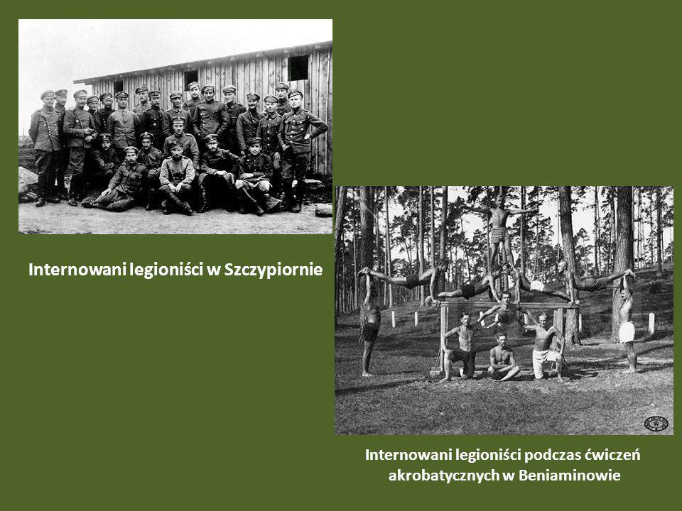 Internowani legioniści w Szczypiornie Internowani legioniści podczas ćwiczeń akrobatycznych w Beniaminowie