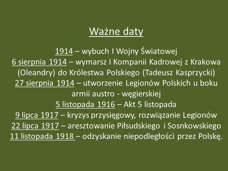 Ważne daty 1914 – wybuch I Wojny Światowej 6 sierpnia 1914 – wymarsz I Kompanii Kadrowej z Krakowa (Oleandry) do Królestwa Polskiego (Tadeusz Kasprzyc