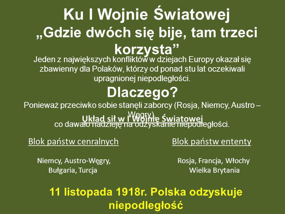 Ku I Wojnie Światowej Gdzie dwóch się bije, tam trzeci korzysta Jeden z największych konfliktów w dziejach Europy okazał się zbawienny dla Polaków, kt