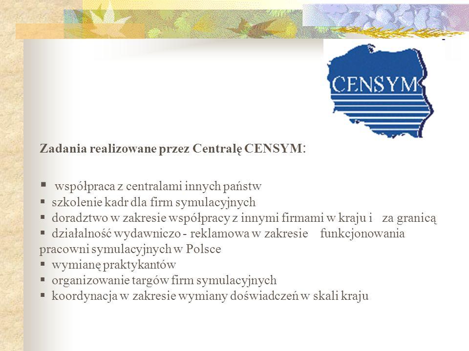 Zadania realizowane przez Centralę CENSYM : współpraca z centralami innych państw szkolenie kadr dla firm symulacyjnych doradztwo w zakresie współprac