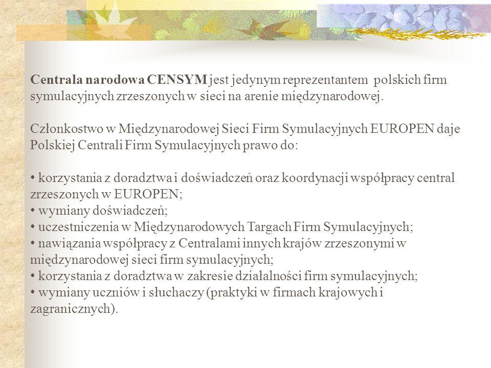 Centrala narodowa CENSYM jest jedynym reprezentantem polskich firm symulacyjnych zrzeszonych w sieci na arenie międzynarodowej. Członkostwo w Międzyna