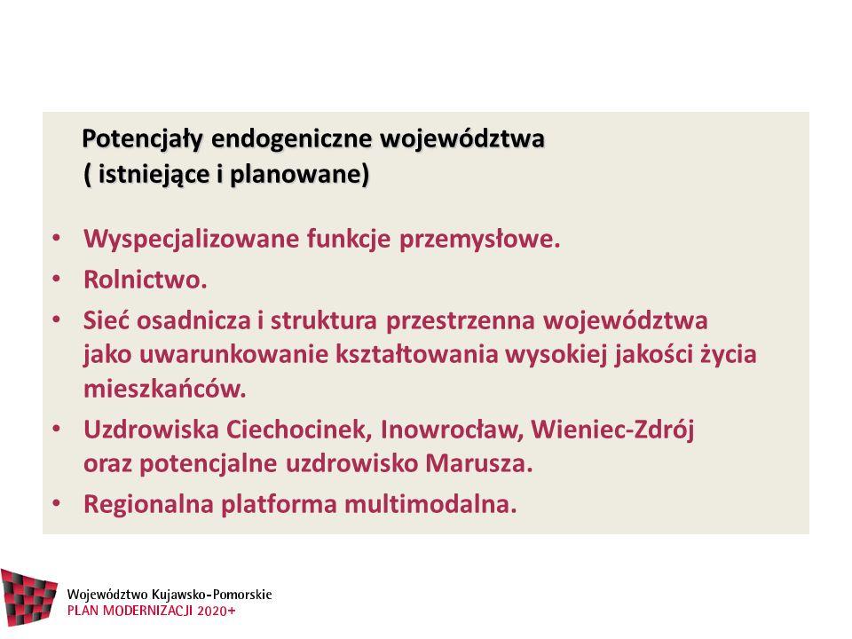 Potencjały endogeniczne województwa ( istniejące i planowane) Potencjały endogeniczne województwa ( istniejące i planowane) Wyspecjalizowane funkcje p