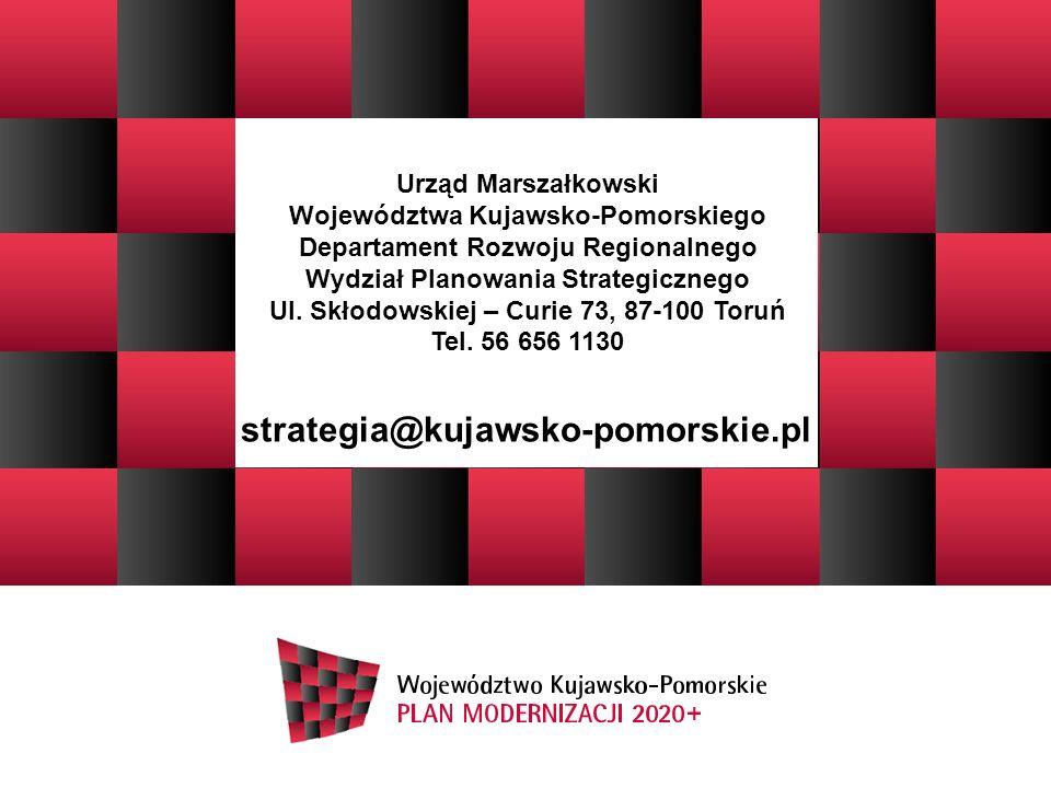 strategia@kujawsko-pomorskie.pl Urząd Marszałkowski Województwa Kujawsko-Pomorskiego Departament Rozwoju Regionalnego Wydział Planowania Strategiczneg