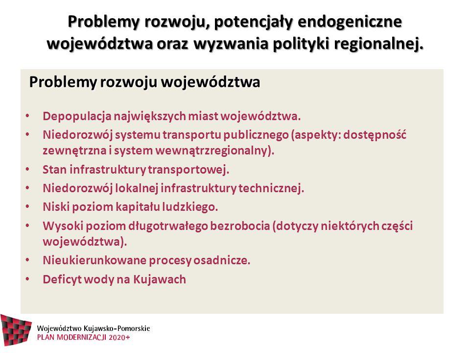 Problemy rozwoju, potencjały endogeniczne województwa oraz wyzwania polityki regionalnej. Problemy rozwoju, potencjały endogeniczne województwa oraz w