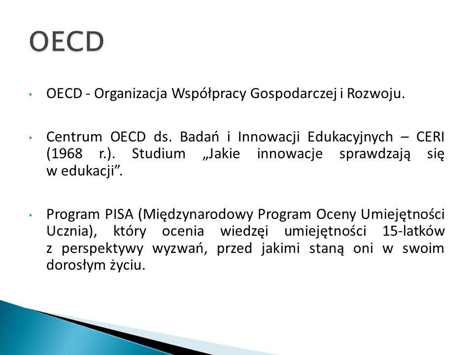 OECD - Organizacja Współpracy Gospodarczej i Rozwoju. Centrum OECD ds. Badań i Innowacji Edukacyjnych – CERI (1968 r.). Studium Jakie innowacje sprawd