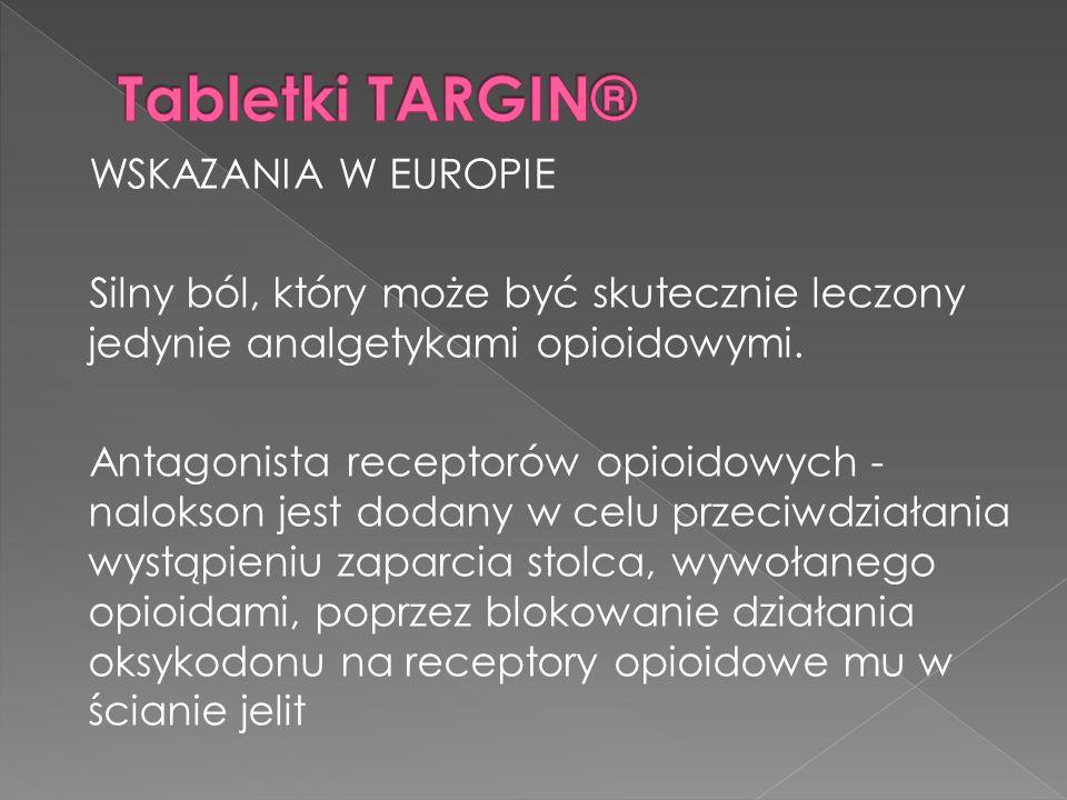 WSKAZANIA W EUROPIE Silny ból, który może być skutecznie leczony jedynie analgetykami opioidowymi. Antagonista receptorów opioidowych - nalokson jest
