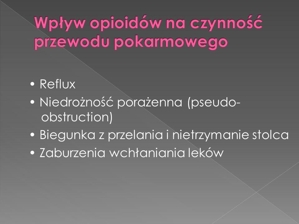 Reflux Niedrożność porażenna (pseudo- obstruction) Biegunka z przelania i nietrzymanie stolca Zaburzenia wchłaniania leków