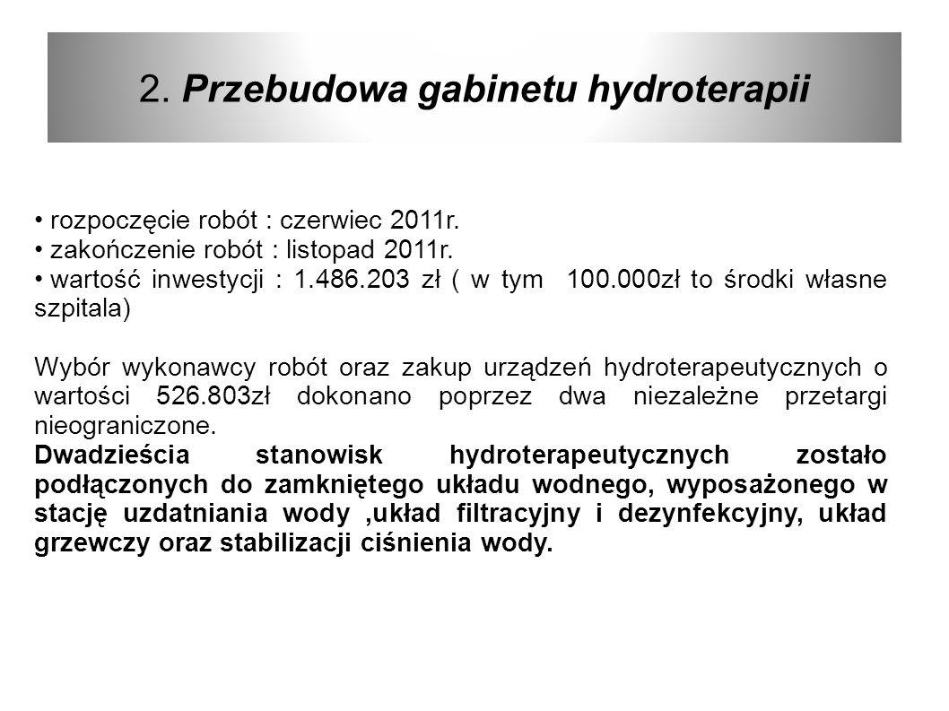2. Przebudowa gabinetu hydroterapii rozpoczęcie robót : czerwiec 2011r. zakończenie robót : listopad 2011r. wartość inwestycji : 1.486.203 zł ( w tym