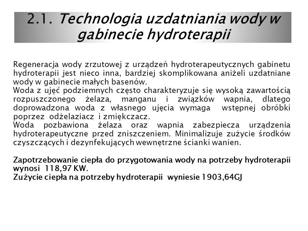 2.1. Technologia uzdatniania wody w gabinecie hydroterapii Regeneracja wody zrzutowej z urządzeń hydroterapeutycznych gabinetu hydroterapii jest nieco