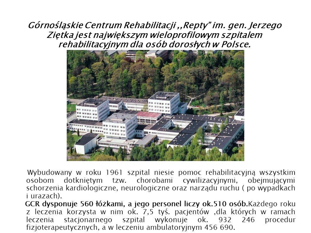 Górnośląskie Centrum Rehabilitacji,,Repty im. gen. Jerzego Ziętka jest największym wieloprofilowym szpitalem rehabilitacyjnym dla osób dorosłych w Pol
