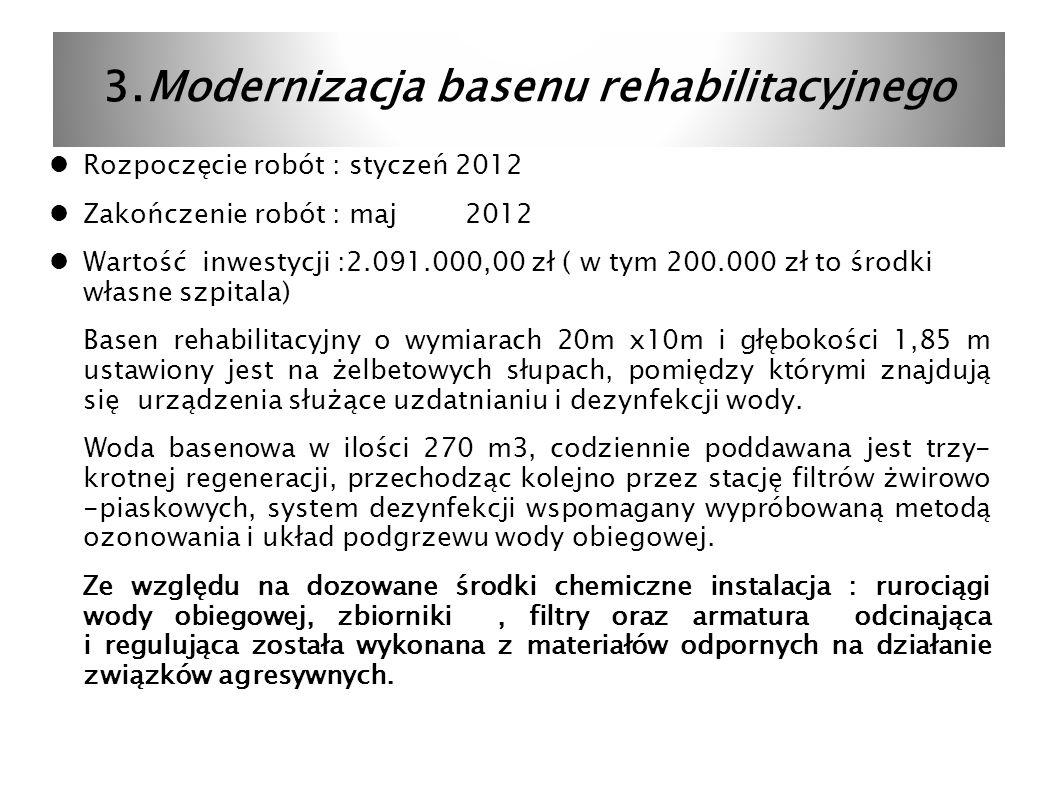 3.Modernizacja basenu rehabilitacyjnego Rozpoczęcie robót : styczeń 2012 Zakończenie robót : maj 2012 Wartość inwestycji :2.091.000,00 zł ( w tym 200.