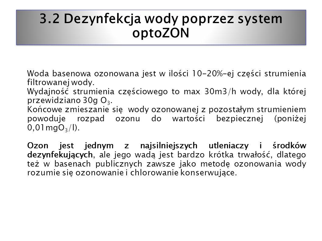3.2 Dezynfekcja wody poprzez system optoZON Woda basenowa ozonowana jest w ilości 10-20%-ej części strumienia filtrowanej wody. Wydajność strumienia c