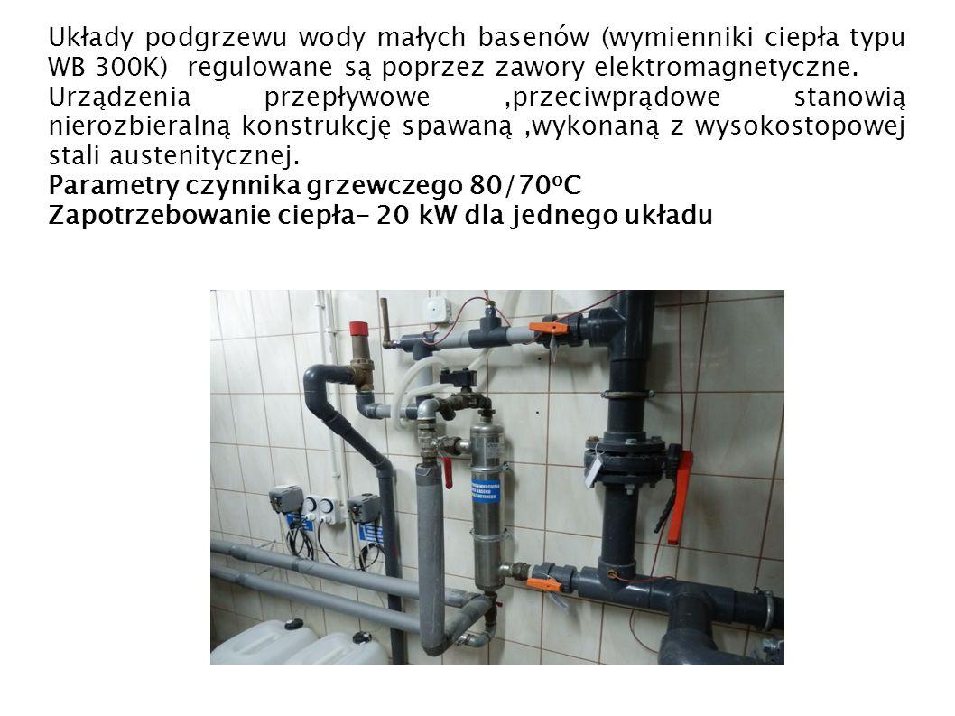 Układy podgrzewu wody małych basenów (wymienniki ciepła typu WB 300K) regulowane są poprzez zawory elektromagnetyczne. Urządzenia przepływowe,przeciwp