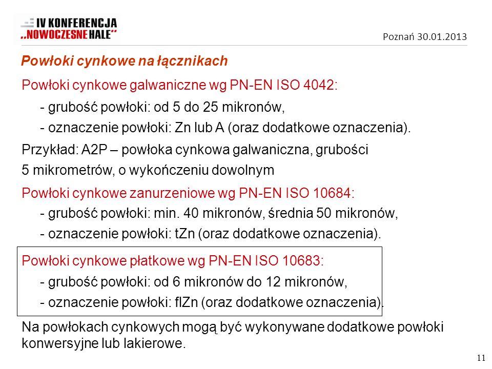 Poznań 30.01.2013 Powłoki cynkowe galwaniczne wg PN-EN ISO 4042: Powłoki cynkowe zanurzeniowe wg PN-EN ISO 10684: - grubość powłoki: min. 40 mikronów,