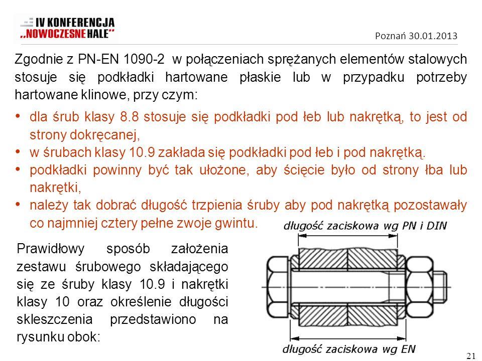 Poznań 30.01.2013 Zgodnie z PN-EN 1090-2 w połączeniach sprężanych elementów stalowych stosuje się podkładki hartowane płaskie lub w przypadku potrzeb