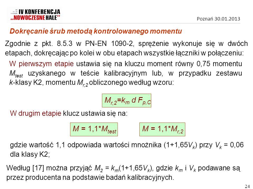 Poznań 30.01.2013 W pierwszym etapie ustawia się na kluczu moment równy 0,75 momentu M test uzyskanego w teście kalibracyjnym lub, w przypadku zestawu