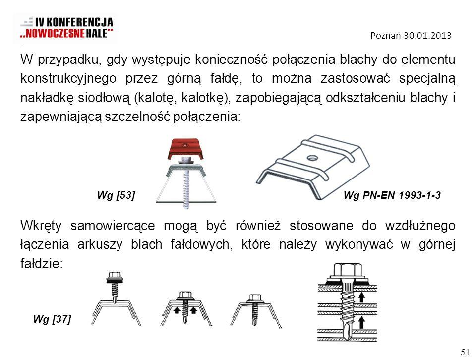 Poznań 30.01.2013 Wkręty samowiercące mogą być również stosowane do wzdłużnego łączenia arkuszy blach fałdowych, które należy wykonywać w górnej fałdz