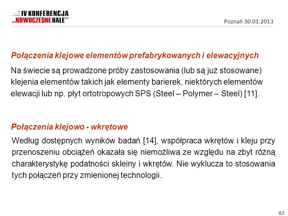 Poznań 30.01.2013 Na świecie są prowadzone próby zastosowania (lub są już stosowane) klejenia elementów takich jak elementy barierek, niektórych eleme