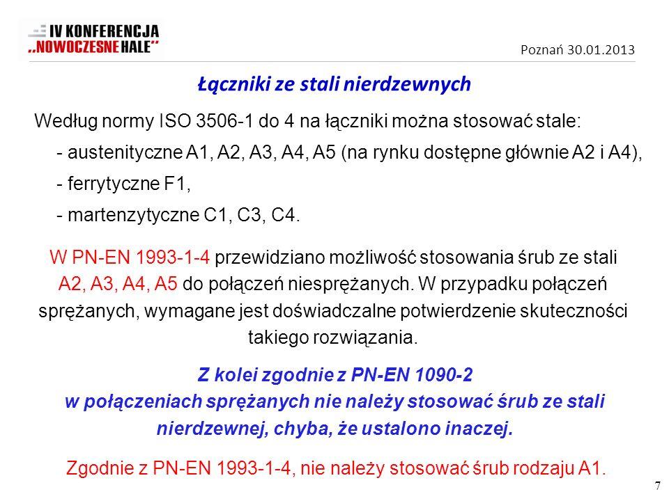 Poznań 30.01.2013 Według normy ISO 3506-1 do 4 na łączniki można stosować stale: - austenityczne A1, A2, A3, A4, A5 (na rynku dostępne głównie A2 i A4