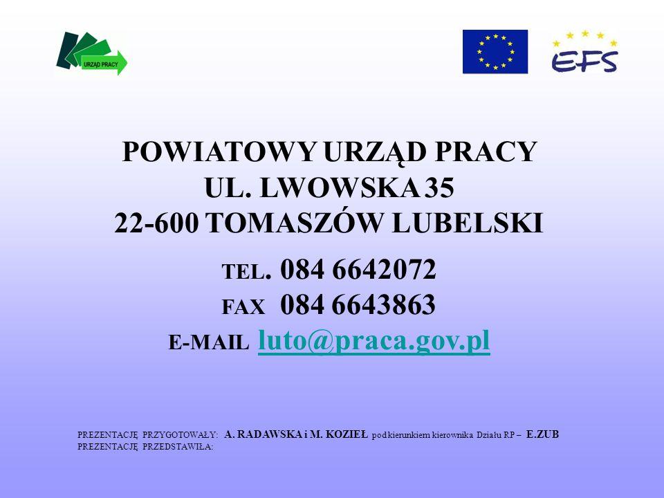 POWIATOWY URZĄD PRACY UL.LWOWSKA 35 22-600 TOMASZÓW LUBELSKI TEL.