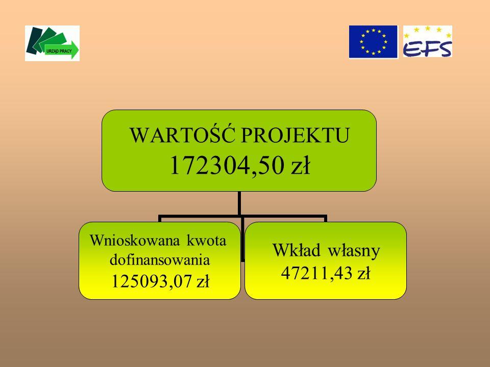 WARTOŚĆ PROJEKTU 172304,50 zł Wnioskowana kwota dofinansowania 125093,07 zł Wkład własny 47211,43 zł