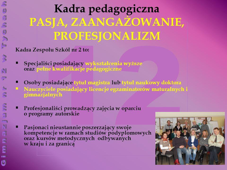 12 Kadra pedagogiczna PASJA, ZAANGAŻOWANIE, PROFESJONALIZM Kadra Zespołu Szkół nr 2 to: Specjaliści posiadający wykształcenia wyższe oraz pełne kwalifikacje pedagogiczne Osoby posiadające tytuł magistra lub tytuł naukowy doktora Nauczyciele posiadający licencje egzaminatorów maturalnych i gimnazjalnych Profesjonaliści prowadzący zajęcia w oparciu o programy autorskie Pasjonaci nieustannie poszerzający swoje kompetencje w ramach studiów podyplomowych oraz kursów metodycznych odbywanych w kraju i za granicą