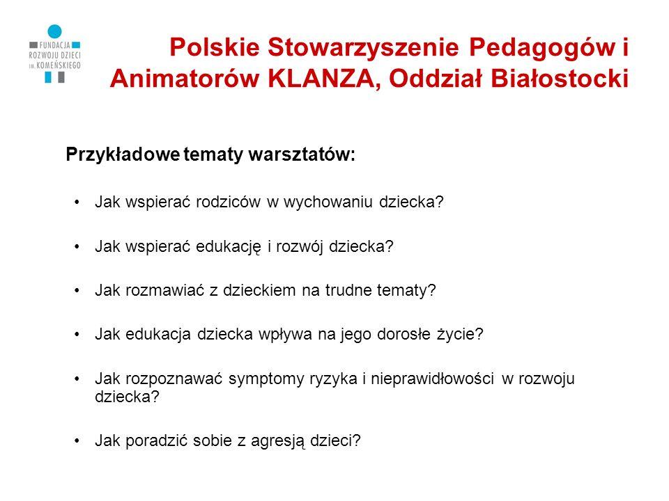Polskie Stowarzyszenie Pedagogów i Animatorów KLANZA, Oddział Białostocki Przykładowe tematy warsztatów: Jak wspierać rodziców w wychowaniu dziecka.