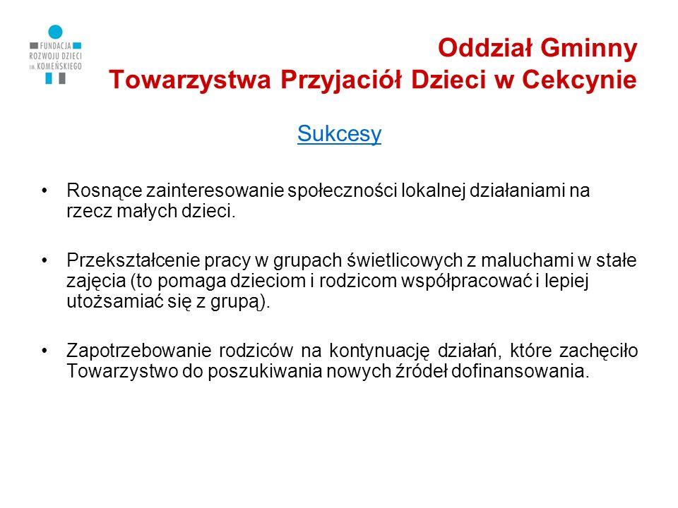 Oddział Gminny Towarzystwa Przyjaciół Dzieci w Cekcynie Sukcesy Rosnące zainteresowanie społeczności lokalnej działaniami na rzecz małych dzieci.