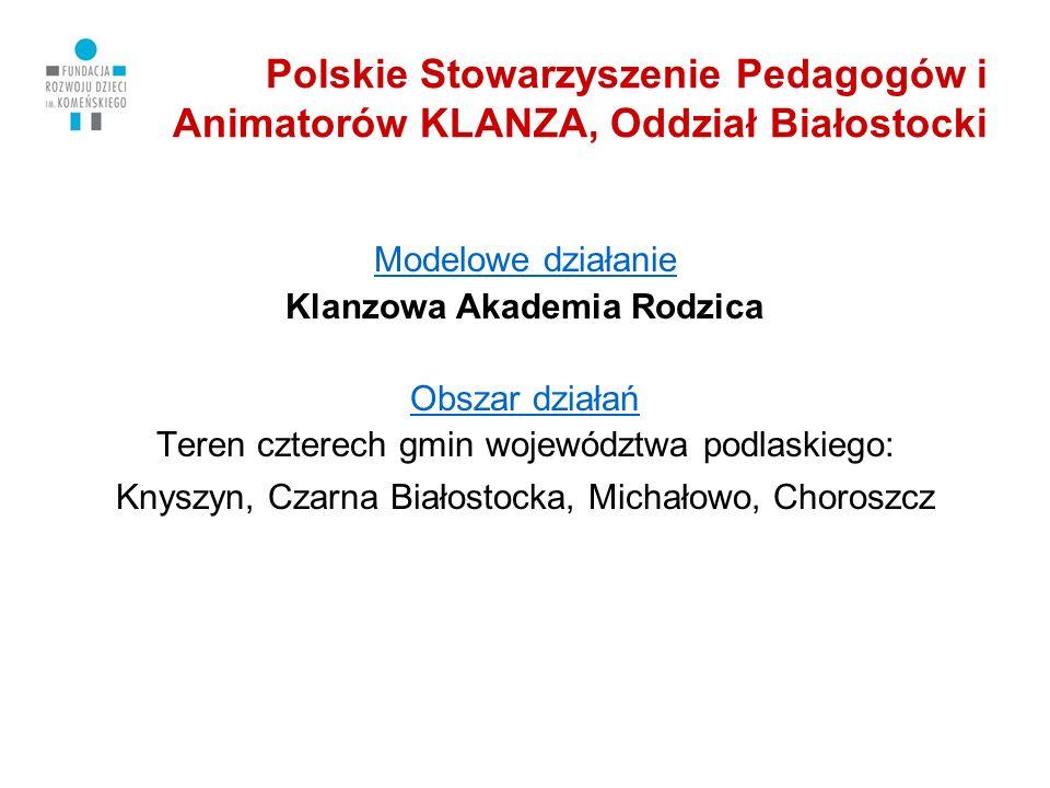 Polskie Stowarzyszenie Pedagogów i Animatorów KLANZA, Oddział Białostocki Główne działania Formy wsparcia Akademii: 4 warsztaty dla rodziców (po 4 godziny) konsultacje po każdym warsztacie (po 2 godziny) pomoce dydaktyczne i szkoleniowe