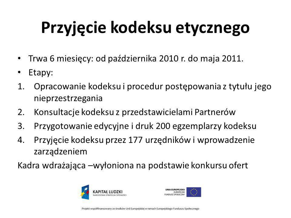 Przyjęcie kodeksu etycznego Trwa 6 miesięcy: od października 2010 r.