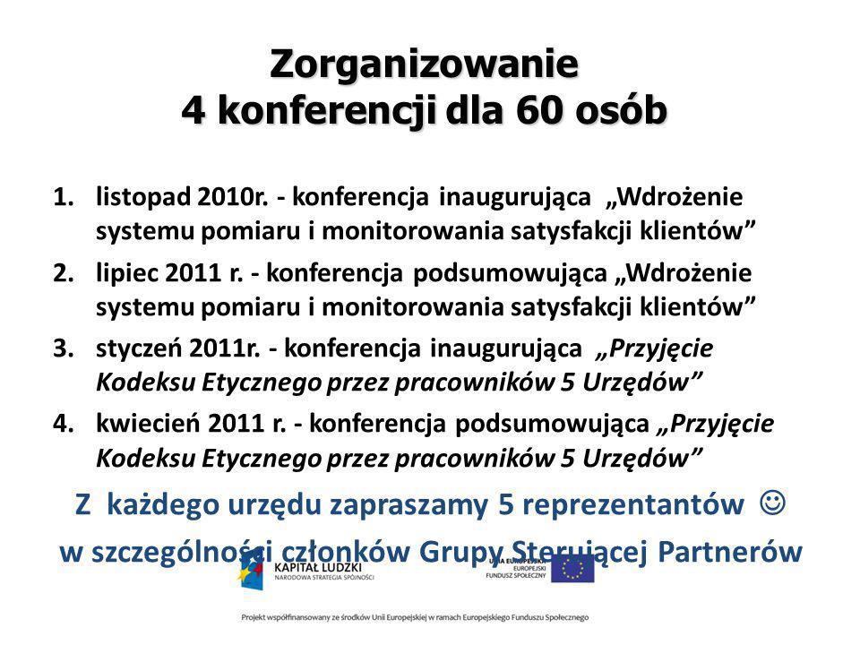 Zorganizowanie 4 konferencji dla 60 osób 1.listopad 2010r.