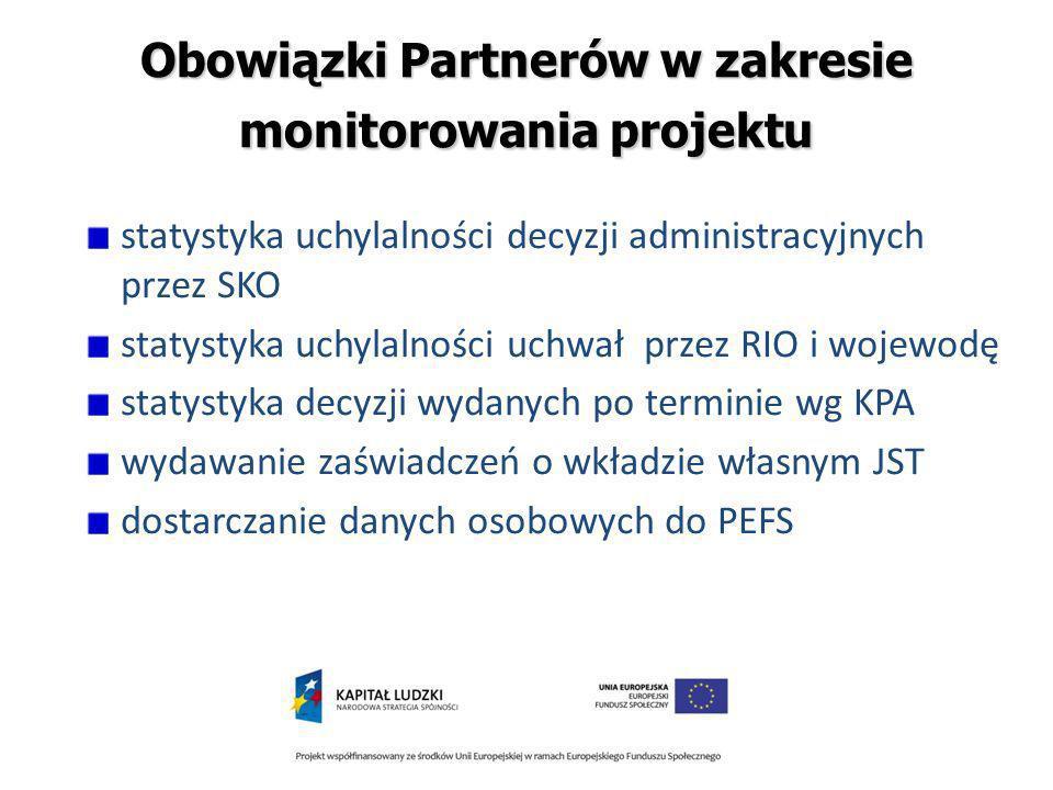 Obowiązki Partnerów w zakresie monitorowania projektu statystyka uchylalności decyzji administracyjnych przez SKO statystyka uchylalności uchwał przez RIO i wojewodę statystyka decyzji wydanych po terminie wg KPA wydawanie zaświadczeń o wkładzie własnym JST dostarczanie danych osobowych do PEFS
