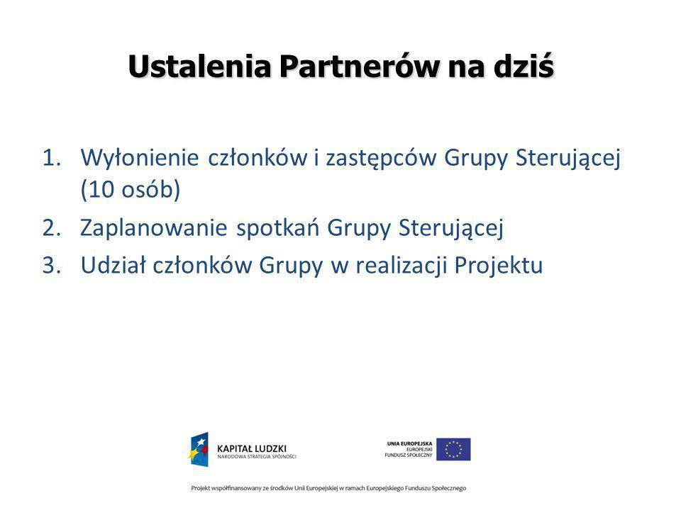 Ustalenia Partnerów na dziś 1.Wyłonienie członków i zastępców Grupy Sterującej (10 osób) 2.Zaplanowanie spotkań Grupy Sterującej 3.Udział członków Grupy w realizacji Projektu