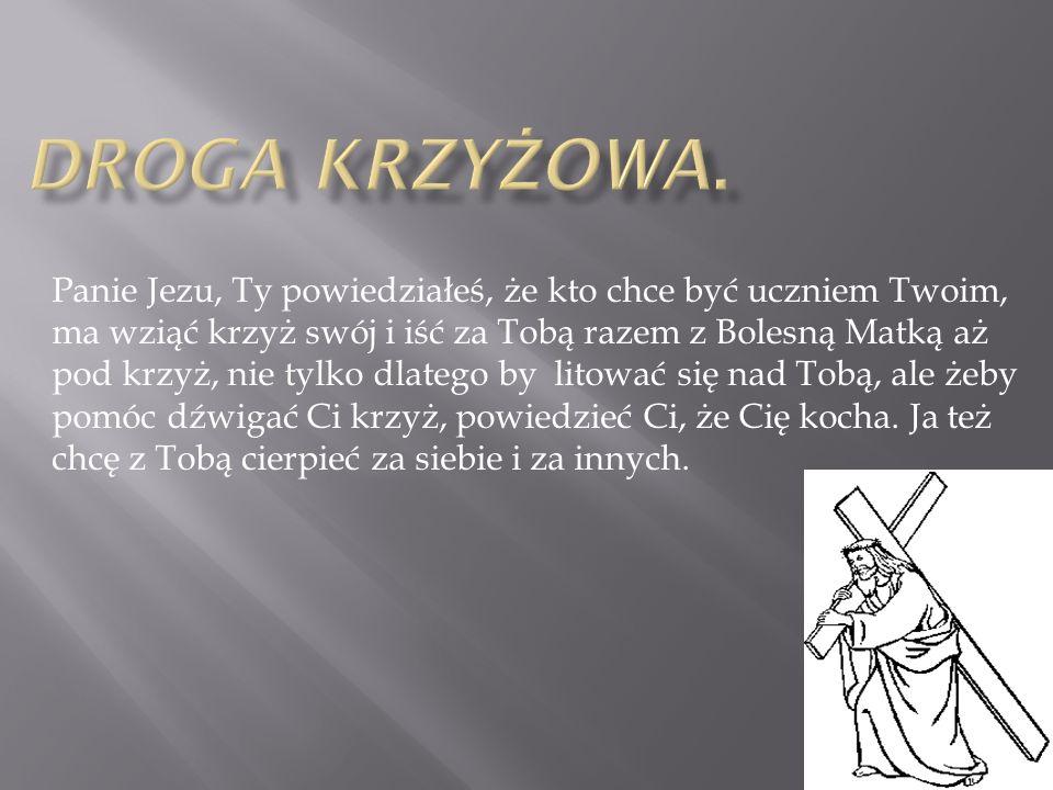 Panie Jezu, Ty powiedziałeś, że kto chce być uczniem Twoim, ma wziąć krzyż swój i iść za Tobą razem z Bolesną Matką aż pod krzyż, nie tylko dlatego by